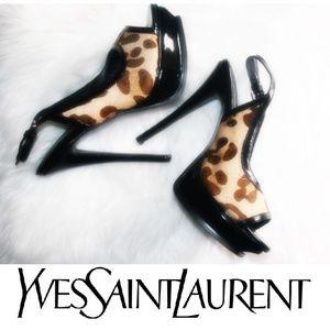 YSL Saint Laurent animal print pony hair heels 9